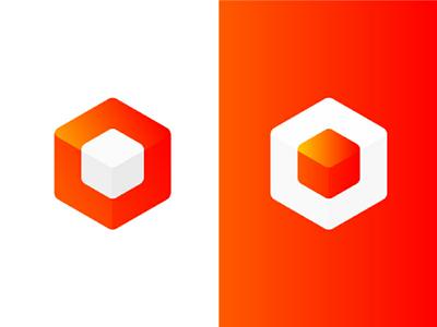 Cube logo orange identity gradient design logo design logo cube