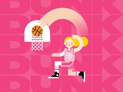 DUNK sketch typography dribbble basketball dunk vector illustration