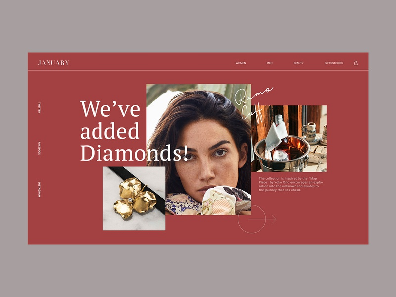 Fashion photo page#6 jewelry brand girl flat clean web website ux concept grid interface homepage e-commerce design branding ui