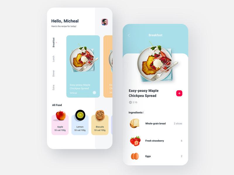 Health Diet App grid interface clean ux diet health app app health food ui