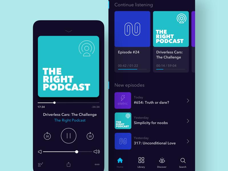 Dark UI Podcasts App Concept podcast music mobile ios app branding app typography design ux color ui