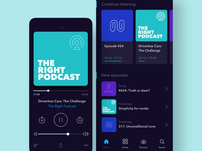 Dark UI Podcasts App Concept podcast music mobile ios app branding app typography design ux color ui