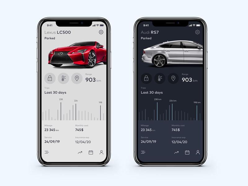 Dark or light theme? [ Car App Concept ] ios color design ux car app branding app ui  ux ui