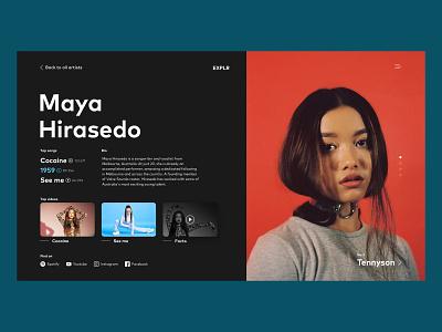 Discover New Artists - Web App Concept black red color web  design web music ux ui