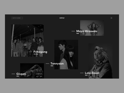 Explore New Music site animation webdesign black color typography branding animation origami interaction ux design ui