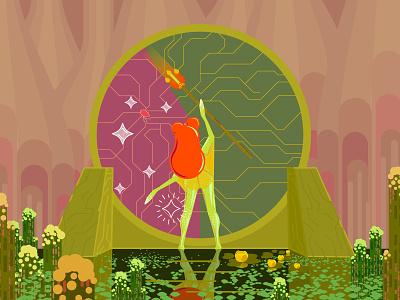 Nima: The Swamp Nymph magical magic swamp portal mistic nymph creature colorful bright 2d-graphics 2d flat art frog illustration