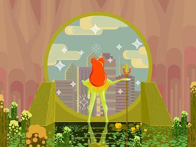 Nima: The Swamp Nymph megapolis city magic portal nymph magical creature bright colorful 2d-graphics 2d flat art frog illustration