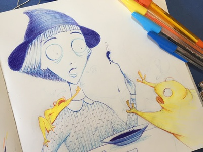 Inktober 01 poisonous blue and yellow blue inking sketch illustration little witch frog witchy witch colorful ink inktober2018 inktober