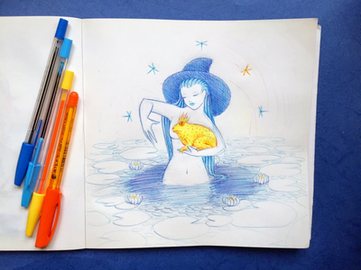 Inktober 03 Spell colorful-ink blue yellow ritual water-lily witchy witch swamp froggie frog inktober2018 spell inktober