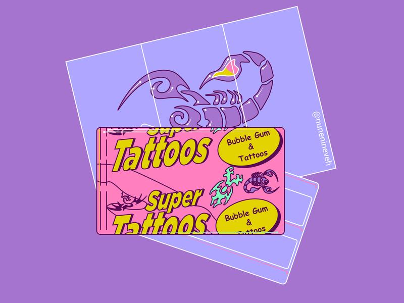Super Tattoos Gum line purple vector graphics adobe illustrator illustrations illustrator 90s art illustration