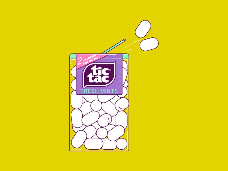 Tic Tac vector yellow line illustraion illustrator illustrations graphics art adobe illustrator 90s
