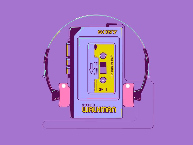 Sony Walkman Stereo Casette Player millennials millennial colorful design adobe illustrator cc adobe illustrator purple artdaily illustrations 2d-graphics 2d flat art vector illustrator 90s art illustration