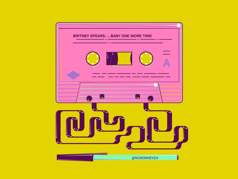 Tape and pen casette tape yellow pink creative bright millennials design colorful adobe illustrator cc adobe illustrator artdaily illustrations 2d-graphics 2d flat art vector illustrator 90s art illustration