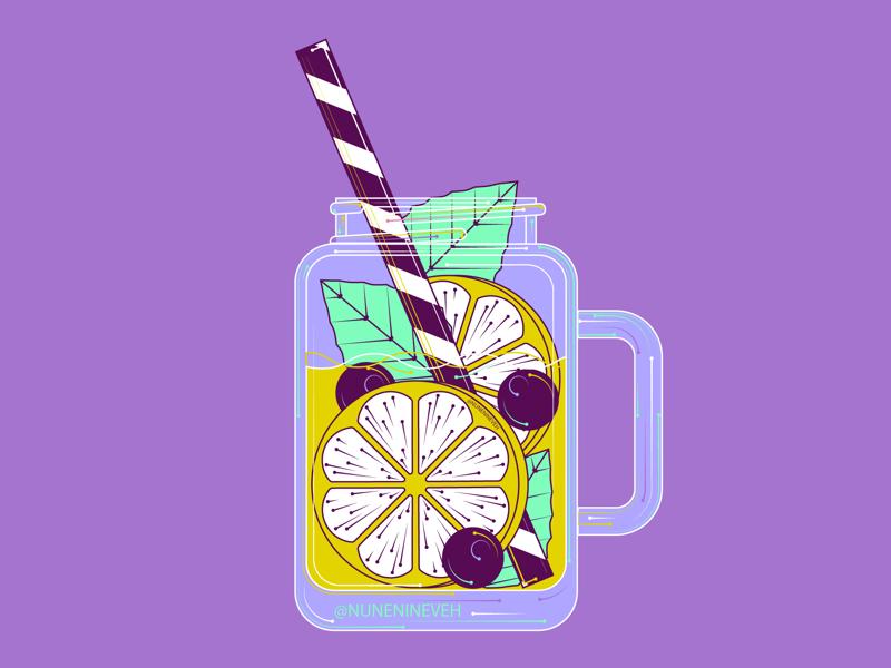 Lemonade jar 🍋 design summer art illustration illustrator