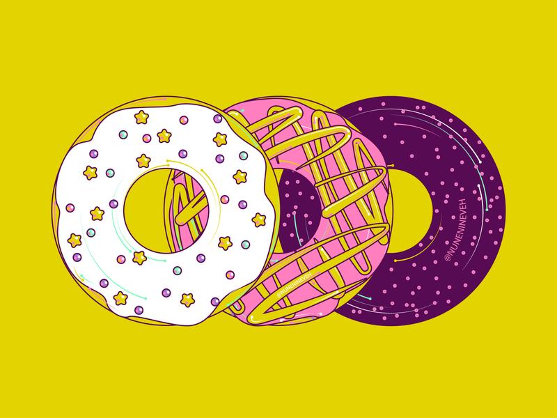 Three Donuts adobe illustrator cc adobe illustrator artdaily illustrations 2d flat art vector design art illustration illustrator