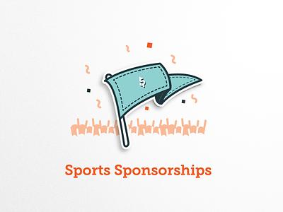 Sports Sponsorships Badge badge illustrations icons pennant flag wave crowd sponsorship sponsors sports