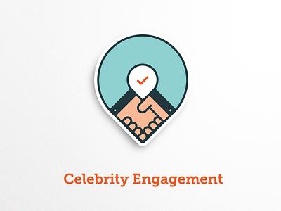 Celebrity Engagement Badge badge illustrations icons business hands handshake engagement celebrity