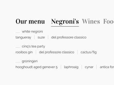 Cocktail menu simple tabs menu