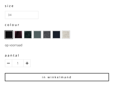 Product variations fashion webshop product visualization