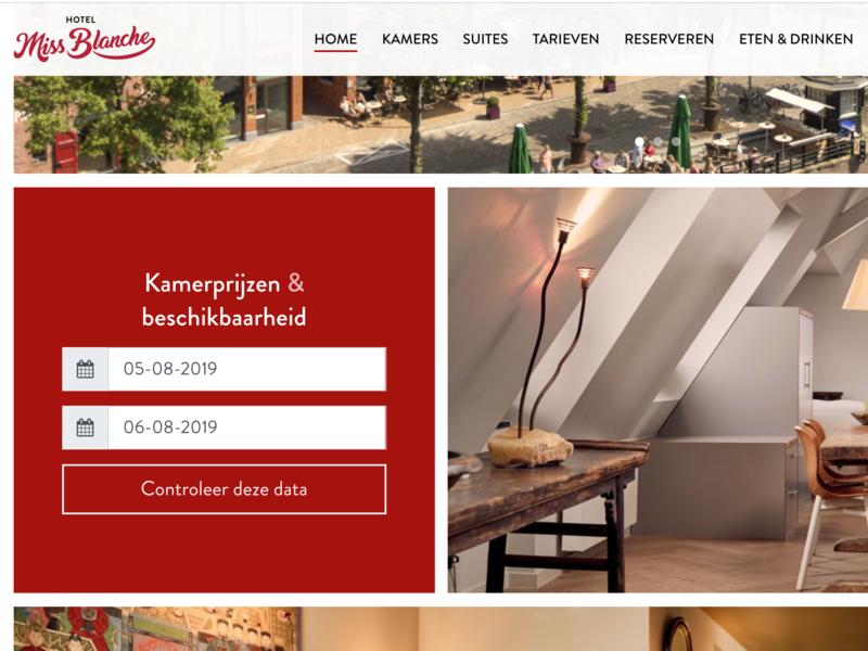 Hotel website minimal calendar hotel