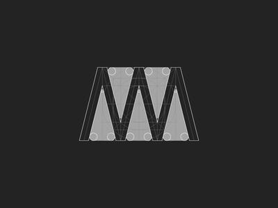 W — symbol design process. cool brand construction young freelance identity agency designer logotype logo