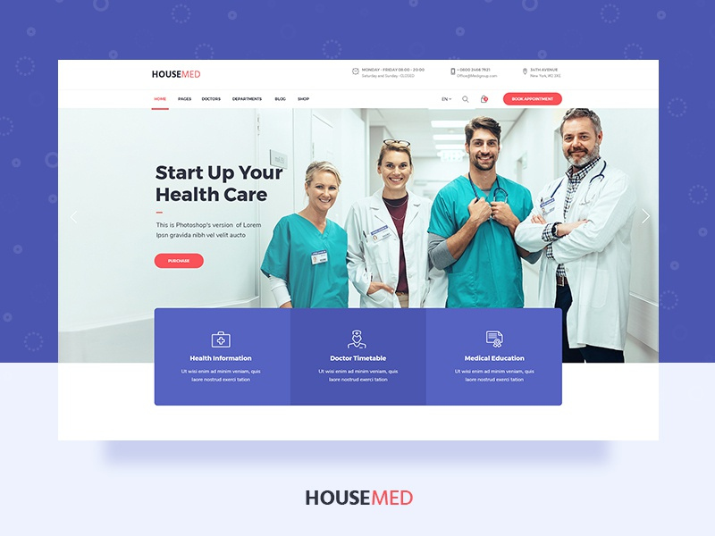 Housemed ui theme design wordpress uiux timetable physiotherapy physician pediatrician ophthalmologist modern medicine medical hospital health care health doctor appointment doctor dentist clinic