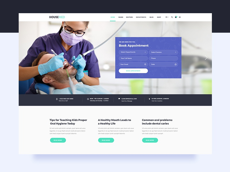 Housemed digital design uiux theme wordpress timetable physiotherapy physician pediatrician ophthalmologist modern medicine medical hospital health care health doctor appointment doctor dentist clinic
