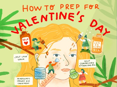 How to prep for Valentine's day illustration editorial girl selfcare skincare love