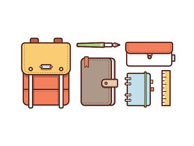 What's in my knapsack ruler pen notebook bag knapsack illustrations stationery illustration vector
