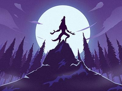 Monsterwolf moonlight illustration forest wolf