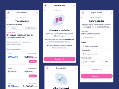 Life Insurance Flow pricing pink simple insurance app onboarding flow insurance minimal ui illustration