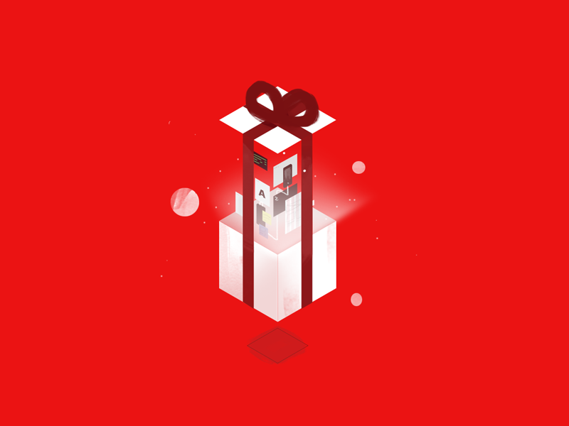 Gift red holidays sketch illustration isometric gift