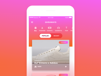 Giveaways Concept colorful gradient ui fun app concept