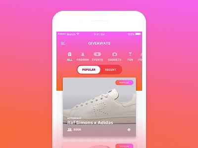 Giveaways Concept colorful gradient ui fun app concept