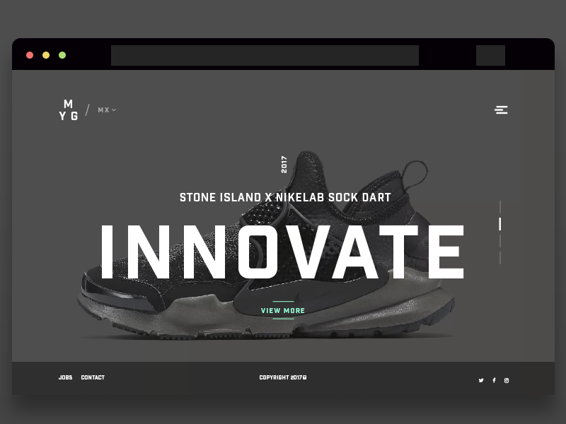 Innovate modern gray product landing footwear