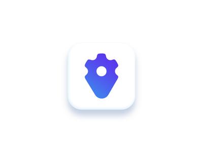 Gear Icon gradient minimal app icon gear pin geolocation