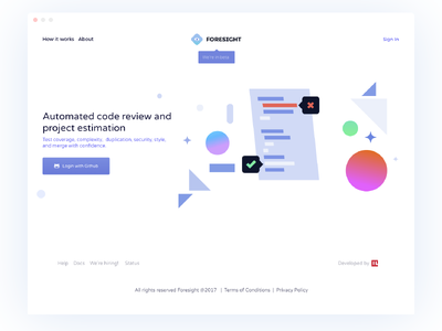 Foresight Landing Page illustration code minimal shape geometric simple landing