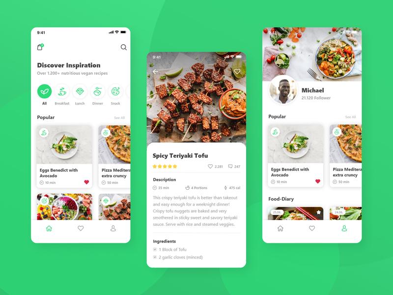 Vegan Recipe UI symbol modern feed app minimal design uxdesign ui design cooking recipe app recipe vegan ui