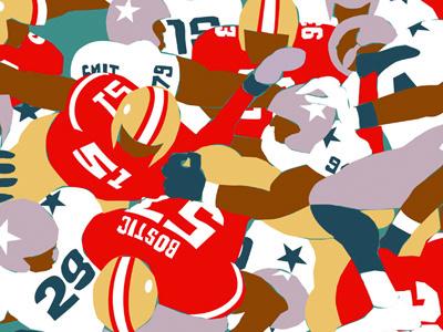 Piling On sport drawgood design american football nfl illustration pattern