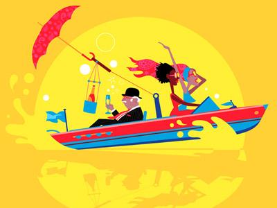 Mid-LIfe Crisis No. 3 character design ocean london gentleman uk speedboat riva humour vector drawgood man illustration