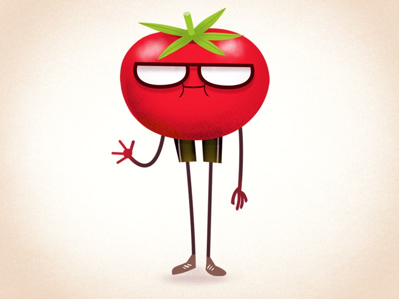 Tommy Tomato anthropomorphic vegetable drawgood design retro funny cartoon character design illustration