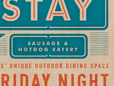 Short Leash Hotdogs hotdog sausage mobile texture food truck food restaurant vintage old school signage poster