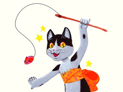 Kitty gouache traditional art cat gouache