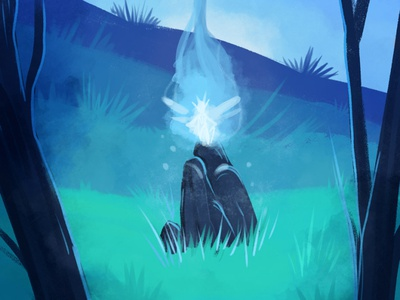 Speed painting blue period blue fairy concept art