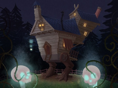 The Little Witchtober 3 illustration clip studio paint house background design