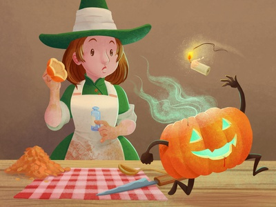 The Little Witchtober 4 clip studio paint illustration character design spell pumpkin witch