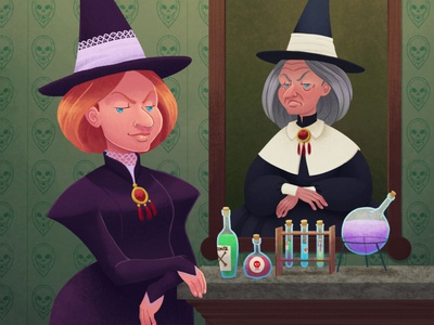 The little witchtober 7 character design halloween witch illustration clip studio paint