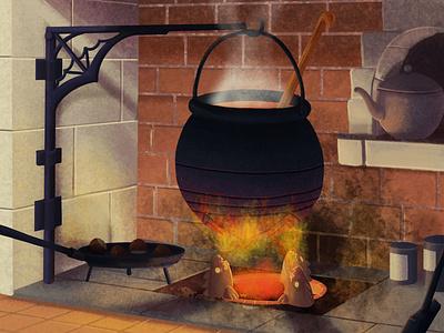 The Little Witchtober 9 background design clip studio paint illustration