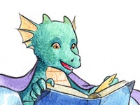 Baby dragon and a book