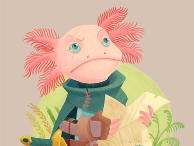 Character-design challenge : Adventurer axolotl